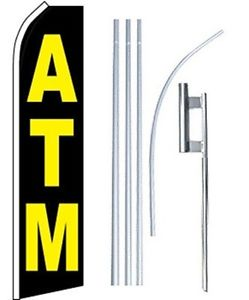 ATM Logo and Size Custom Feather Swooper Flags